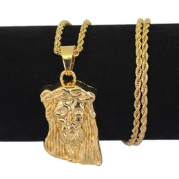 3mm rhinestone chain NZ - Small Jesus Pendant Jesus Head Pendants Necklace Hip Hop 3mm 24inch Stainless Steel Chain N732