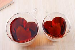 $enCountryForm.capitalKeyWord Australia - 100pcs 240 180ml Heart Love Shaped Double Wall Layer Transparent Glass Tea Cup Lover Coffee Mug Gift lin3958