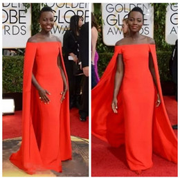 Ivory Fancy Dress NZ - 2019 Golden Globe Award Lupita Prom Dresses Off Shoulder sexy Fancy Cape Cloak Bateau Sheath Evening Gowns