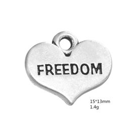 $enCountryForm.capitalKeyWord Australia - Zinc Alloy Heart Charm Plated Word Freedom Accessories Fit necklace bracelet Jewelry making
