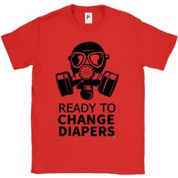 427651d46 Ready To Change Diapers Dad To Be Gas Mask Mens T-Shirt Funny free shipping  Unisex Casual tee gift
