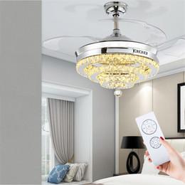 Nickel Fan Australia - 42 Inch Modern Ceiling Fan LED Crystal Chandelier Fan Lights Invisible Fan Crystal Lights Living Room Bedroom Restaurant with Remote Control