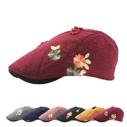 $enCountryForm.capitalKeyWord Canada - Winter Outdoors Sun Hat Wool Knit Embroidered Beret Female Painters Newboy Cap Manual Nail Bead Flower Hat