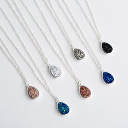 $enCountryForm.capitalKeyWord Australia - Fashion Waterdrop Druzy Drusy Necklace Silver Plated Faux Crystal Druse Resin Stone Women MICHAEL KENDRA Jewelry Accessories