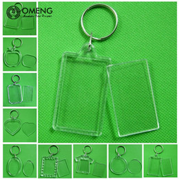 OMENG Rectangle Transparent Blank Acrylic Insert Photo Picture Frame  Keyring Keychain DIY Split Ring Key Chain Gift f5eb600b6508