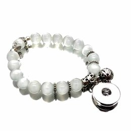 Black Button eyes online shopping - New snap button charm bracelet white cat eye opal mm beads bracelets bangle for women fit mm buttons