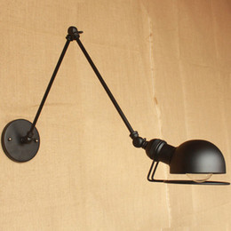 Discount rustic wall light fixtures - wall lamps loft vintage double long arm wall lamp lamparas de pared adjustable Handle Metal Rustic Light Sconce Fixtures
