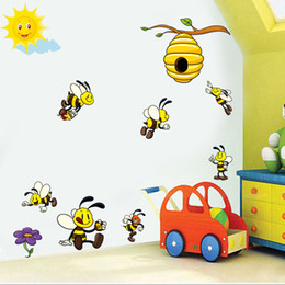 bee decor 2019 - Cute Cartoon Bee 3D Wall Stickers For Kids Rooms Decoration Lovely Honey Bee Viny Wall Art Decals Murals Diy Nursery Hom