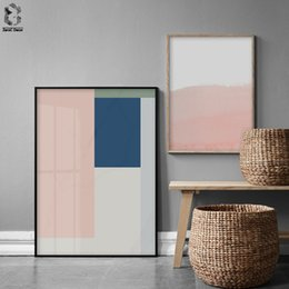 Picture Canvas Prints NZ - Nordic Style Coral Pink and Blue Geometric Art Canvas Abstract Painting Wall Art Poster and Print Picture Modern Home Decoration