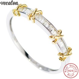 Wholesale crossing fingers online – design Vecalon Charm Real Soild Sterling Silver Promise ring cross Engagement wedding Band rings for women men Finger jewelry