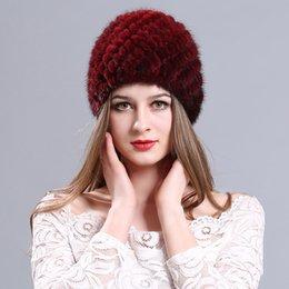Discount streetwear beanies - Knitted Fur Winter Warm Women Beanie Cap  Autumn Solid Cotton Blend Ladies 5e3c148ed885