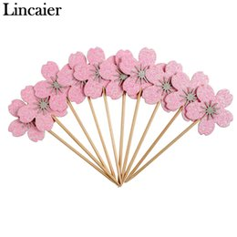 $enCountryForm.capitalKeyWord UK - Lincaier 20pcs Pink Cherry Blossoms Cupcake Toppers Girl Birthday Party Decorations Kids Sakura Cake Supplies Accessories Flower