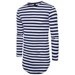 China 2018 New Extended Summer T Shirt Longline Hip Hop Tee Shirts Long Sleeve Mens T-Shirts Black S-2XL cheap mens black t shirt new suppliers