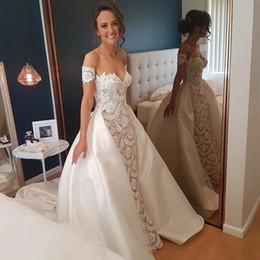 Delicate Lace Back Wedding Dress Australia - Romantic Wedding Dresses Detachable Skirt Sweetheart Full Length Lace Ivory Taffeta Bridal Gowns Beach Garden Corset Delicate Short Sleeve
