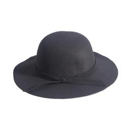 blue felt hat 2019 - Child Girls Vintage Wool Felt Bowler Hat Caps Derby Cap Dome Hat with Bowknot (Black) discount blue felt hat