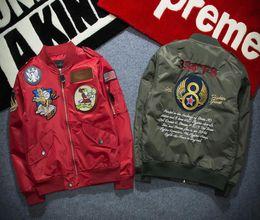 Army Green Motorcycle Jacket NZ - Fashion NASA Bomber Jacket Men Ma-1 Flight Jackets Pilot Forces Male Spring Ma1 Army Green Military motorcycle Jackets Thin Coats M-3XL