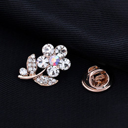 $enCountryForm.capitalKeyWord NZ - Hot Sale Flower Brooch Pins With Crystal Small Suit Shirt Lapel Pin Badge Cute Safe Broach Korea Style Little Breastpin Wholesale Free Ship