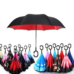 Umbrellas designs online shopping - Windproof Reverse Umbrella New Design Colors Double Layer Inverted Umbrellas C Handle Umbrellas For Car Printable Customer Logo