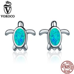 Discount turtle earrings VOROCO genuine 925 Sterling Silver Natural Blue File Opal Sea Turtle Stud Earrings for Women Party Gift Fine Jewelry VSE