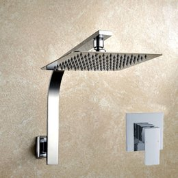 """Stainless Shower NZ - Free Shipping 8"""" or 10"""" or 12"""" square SUS 304 stainless steel Ultra-thin head shower with arm top shower setsTH009-1"""