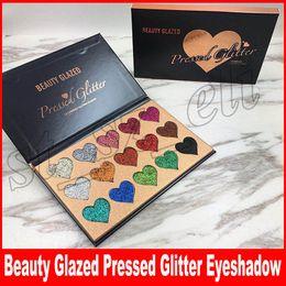 Silky eyeShadow online shopping - Beauty Glazed Colors Glitter Eyeshadow Palette Makeup Contour Metallic Silky Powder heart shape Make up Eye Shadow Pallete