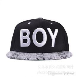 South Korean Cap NZ - The new South Korean baseball cap hat letters BOY snakeskin pattern spring Xiaqiu Ping brimmed hat hip-hop