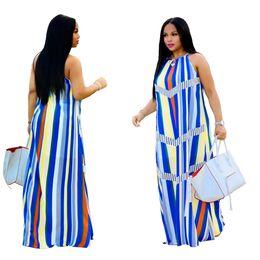 Discount drop pocket dresses - Womens Print Sexy Loose Long Maxi Dresses For Female Summer New Fashion Strap Halter Sleeveless Floor-Length Dress XL Dr