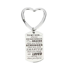 Smart Figures UK - Son Key Chain Men Boy Gifts To My Son - You are Braver Stronger Smarter than you think Stainless Steel