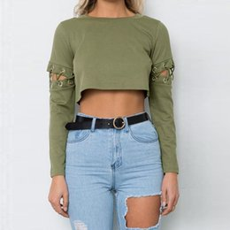 Cropped Tees Australia - Fall Fashion Sexy Women Crop Top Lace Up Bandage Long Sleeve Solid Slim Short T-shirt Tee Tops Hot Clubwear Tops Cropped T-shirt
