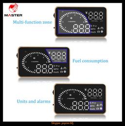 "Car Heads Up Display Australia - Head Up Display X6 Car HUD Head Up Display OBD2 II 3"" Speed Alarm Fuel Consumption Temperature Projector OBD2 With Anti-slip Pad"