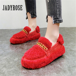 45558d8f039 Jady Rose Fahion Red Women Winter Warm Flats Female Casual Loafers Platform  Creepers Chains Espadrilles Ladies Shoes Flats