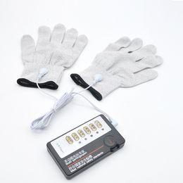 $enCountryForm.capitalKeyWord Australia - electro stimulation adult sex toys electric shock conductive gloves hand massager bdsm bondage gear kit for women XCXA255