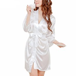 Cheap Sexy Black Ice Silk Nightgowns Bathrobe Nightdress 2018 Summer White  Slip Pajamas Robes Nightdress Gown For Women 29df6e2b9