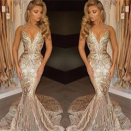 plus size purple special occasion dresses 2019 - 2019 New Luxury Gold Evening Dresses Mermaid V Neck Sexy African Prom Gowns Vestidos Special Occasion Dresses Evening We
