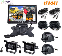 """Front View Parking Camera Australia - 4x 4Pin IR Car Front Side Rear View Reversing Backup Parking Camera+ 7"""" LCD 1 2 3 4CH Quad Split Monitor for Bus Truck Motorhome"""