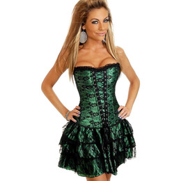Gothic corsets sale online shopping - Shapers Hot Sale Lace Evening Corset Dress Green Red Sexy Women Corset And Bustier Plus Size Push Up Gothic Overbust Corsets