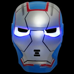 Adult Captain America Mask UK - Hot Sale LED Glowing Light Mask hero SpiderMan Captain America Hulk Iron Man Mask For Kids Adults Party Halloween Birthday