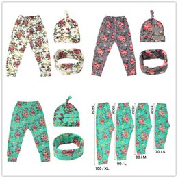 Infant Green Suit NZ - 0-3T Baby floral outfits 3pc set hat+neckwarmer+pants cute infants flower pattern clothing suit ins