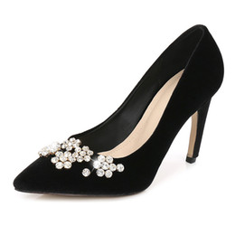 Black Diamond High Heels Female Pointed Toe Sexy Shallow Mouth Fashion  Crystal Wine Red Velvet Shoes Women s Pumps 5880b4e1d3e9