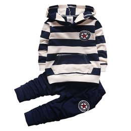Wholesale Baby Boy Clothing Set Infant Bebe Sports Set Kid Hoodies Pants Suit Set Toddler Girl Striped Tracksuit Children Clothes