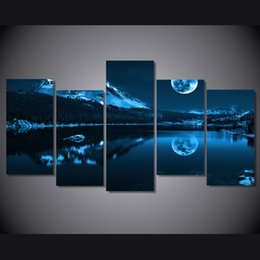 $enCountryForm.capitalKeyWord NZ - 5 Pcs Set Snowy night moon HD Printed Wall Art Pictures Canvas Paintings For Living Room Home Decor