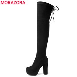 thigh high lace up platform boots 2019 - Size 34-43 New 2018 Over the Knee Boots Women Faux Suede Thigh High Boots Platform Stretch Slim Sexy Ladies Women's