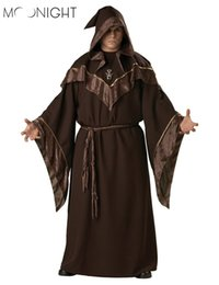 Costume Mens Canada - MOONIGHT Halloween Costumes Adult Mens Gothic Wizard Costume European Religious Men Priest Uniform Fancy Cosplay Costume for Men