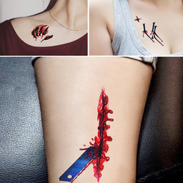 cosplay tattoo UK - 18 Pcs Halloween Temporary Tattoos Scratch Wound Scab Blood Scar Tattoos For Halloween Party Zombies Cosplay Costume Waterproof