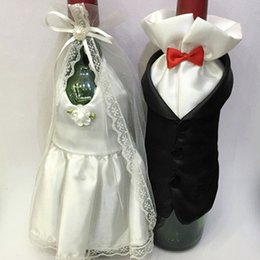 Groom Party Decorations NZ - 1Set Fashion Handmade High Quality Wine Glass Champagne Bottle Bride And Groom Costume Goblet Covers Wedding Party Decoration