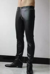 be32dd766cd9b8 Plus size Nightclub Men New clothing personality Fashion Front and rear zipper  zipper tight PU leather pants trousers male stage costumes