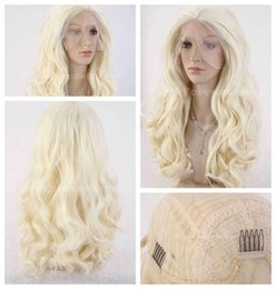 cheap dance lights UK - LY&CS Cheap sale dancing party cosplays>>>Long Light Blonde Wavy Hair Heat Resistant Synthetic Lace Wig Natural