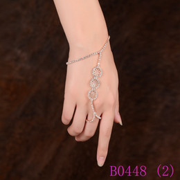 Chain Linked Rings NZ - 3pcs Fashion Hand Harness Slave Bracelet & Adjustable Finger Ring Women Hollow Out Crystal Rhinestone Chain Link Jewelry Set B0448