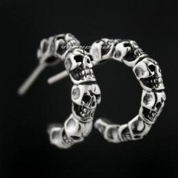 $enCountryForm.capitalKeyWord Australia - 925 Sterling Silver Skull Mens Biker Rocker trendy Earring 8M010