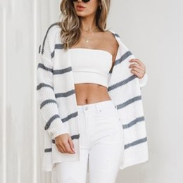 $enCountryForm.capitalKeyWord NZ - 1 Pcs Women Lady Top Sweater Knitting Cardigan Long Sleeve Stripe Fashion For Autumn Winter FS99